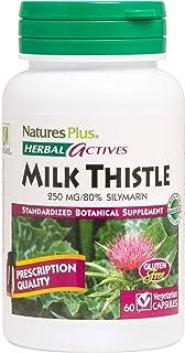 NaturesPlus Herbal Actives Milk Thistle - 250 mg, 80% Silymarin, 60 Vegan Capsules - Liver Detox & Regenerator Support Sup...