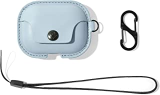 Twelve South AirSnap Pro | Leather Protective Case/Cover with Loss Prevention Clip and optional Carry Strap for Airpods Pro, Slate Blue