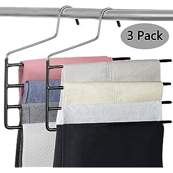 2 Packs FeeraHozer Pants Hanger Space Saving Swing Arms Multi Layers Stainless Steel Metal Slack Organizer for Jeans Towel Scarf Hanging Non-Slip