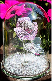 H&D Crystal Pink Rose Flower Glass Dome Flower Paperweight - Crystal Figurine Collectible Statue Wedding Table Centerpiece Ornament