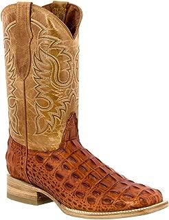 Team West - Men's Cognac Crocodile Back Pattern Leather Cowboy Boots Square Toe