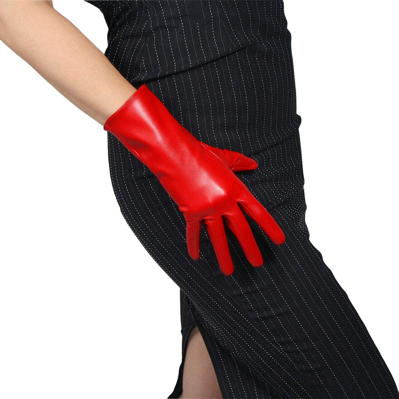 DooWay WOMEN LEATHER GLOVES Faux Lambskin Leather PU HOT Red Elbow Length Cosplay Costume Party Gloves