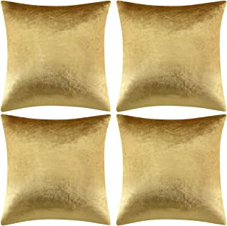GIGIZAZA Decorative Throw Pillow Covers 18 x 18, Gold Soft Pillow Covers Velvet,Set of 4 Decor Square Cushion Covers (Gold, 18x18inch(45x45cm)-4pcs)