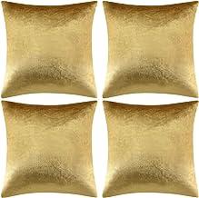 GIGIZAZA Luxury Shinny Velvet Silver Grey Decorative Throw Pillow Cushion Cover, Velvet, 20x20inch(50x50cm)-4pcs, Gold