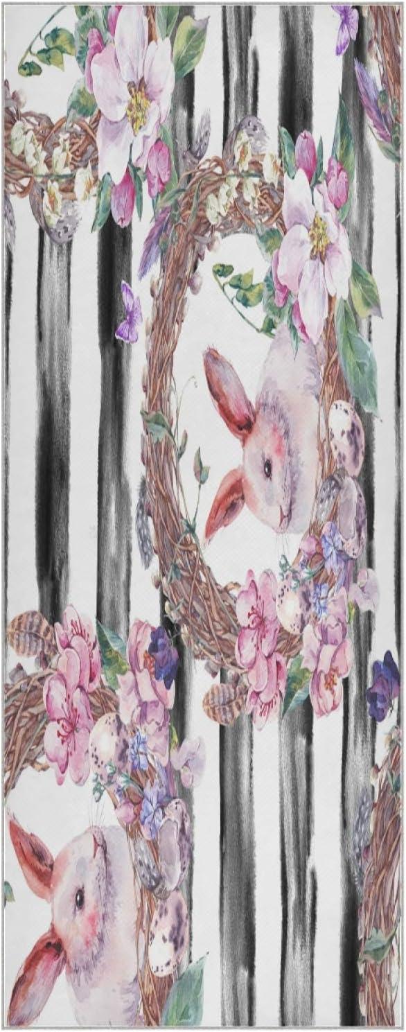 73 Inch Yoga Mat Towel Spring Max 79% OFF Foldab Atlanta Mall Easter Bunny Non Happy Slip