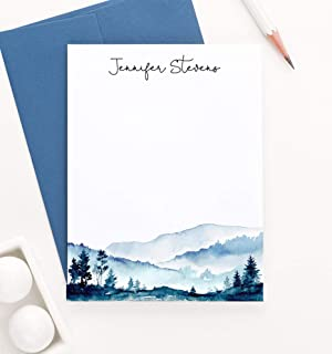 Personalized Mountain Stationery Set, Custom FLAT Rustic Note Cards, Watercolor Stationery with Envelopes, Your Choice of Colors and Quantity