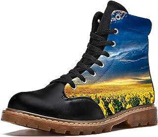 LORVIES Champ de Fleurs de Tournesol Bottes d'hiver Chaussures Montantes en Toile à Lacets pour Hommes