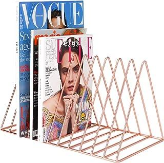 MORIGEM File Organizer, Bookshelf Magazine Rack, Triangle Iron Book Rack, 11 Slots Book Stand, Book Display for Office Home School (Rose Gold)