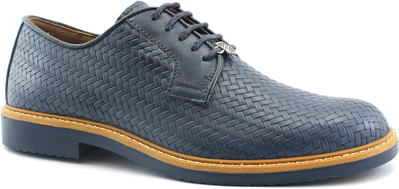 IGI & CO 3101911 bluee shoes Men Derby Sportive Elegant Print Braided Leather