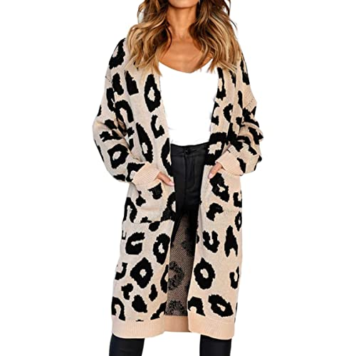 Angashion Women s Long Sleeves Leopard Print Knitting Cardigan Open Front  Warm Sweater Outwear Coats with Pocket 891146d7d