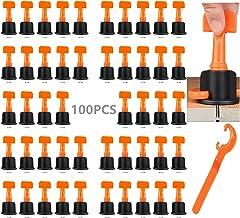 DQTYE Lot de 100 niveleuses de carrelage avec clé spéciale pour le nivellement de carrelage - Outils de construction réuti...