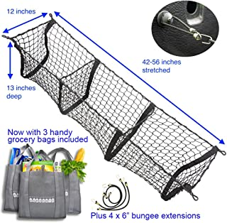 Hang Outs Premium Three Pocket Mesh Storage Net - Black Mesh Three Pocket Trunk Cargo Organizer - fits larger trucks with bungee cords - now with 3 reusable grocery bags