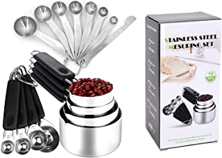 Stainless Steel Measuring Cups and Spoons Set -16PC Metal Plastic Handled for Dry Liquid Ingredients, Stackable Rings Engr...