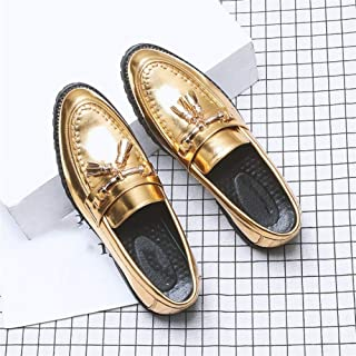 QinMei Zhou Formal Oxfords for Men Date Loafers Slip on Microfiber Leather Pointed Toe Stitching Block Heel Metal Decor Tasseled Soft Non-Slip (Color : Gold, Size : 7.5 UK)