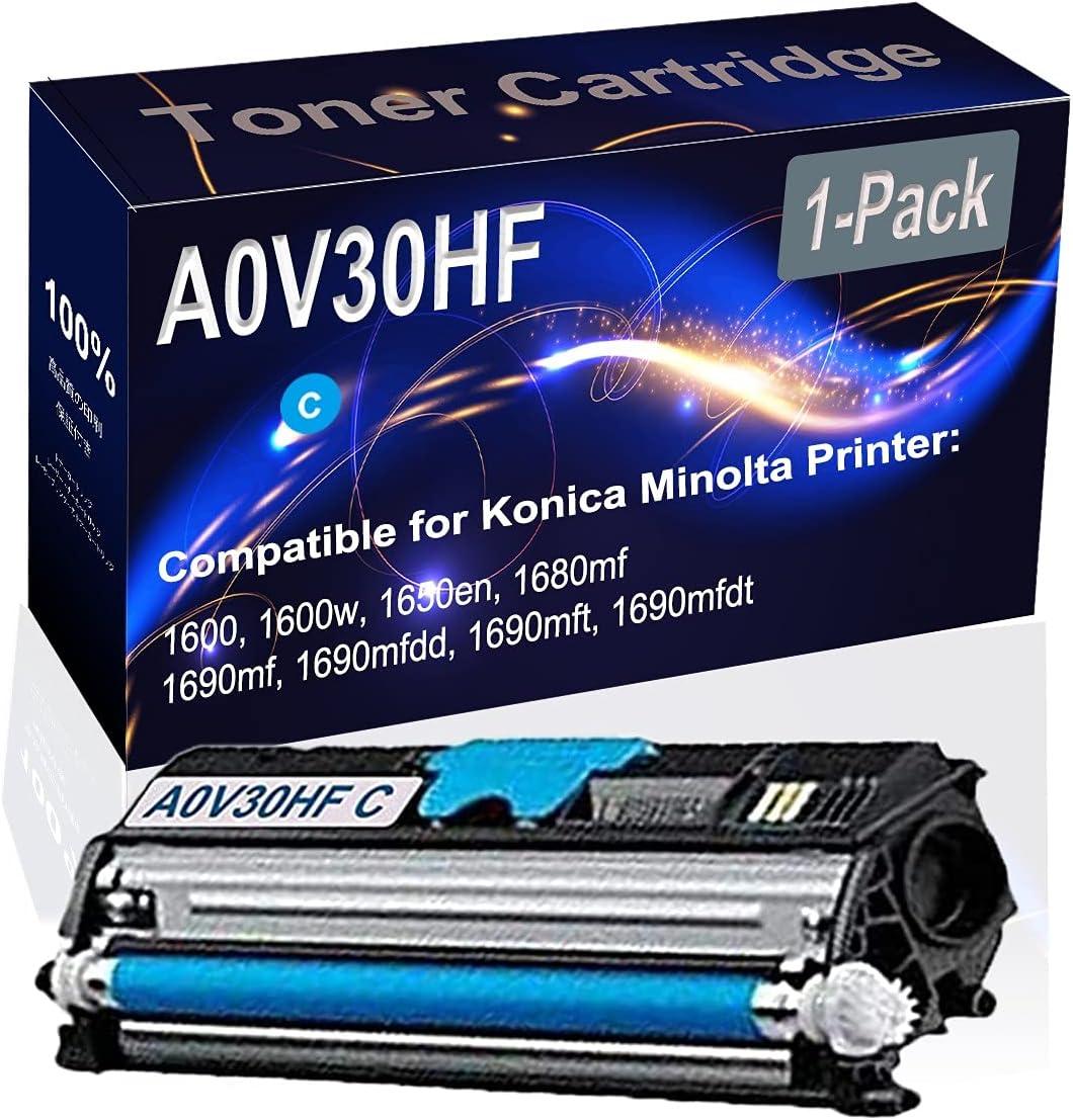 1-Pack (Cyan) Compatible 1600 1600w 1650en 1680mf Laser Toner Cartridge (High Capacity) Replacement for Konica Minolta A0V30HF Printer Toner Cartridge