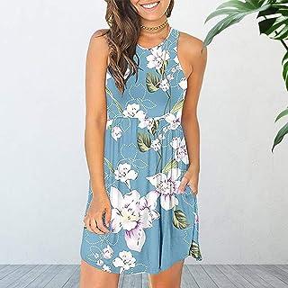 Leepesx Women Floral Printed ni Dress wi Po ets Sleeveless O-Ne Summer Casual Sundress