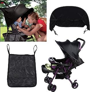 2 Colors Baby Stroller Pram Sunshade Universal Buggy Infant Car Seat Canopy Flexible Lycra Sun Blocking Cover (Black)