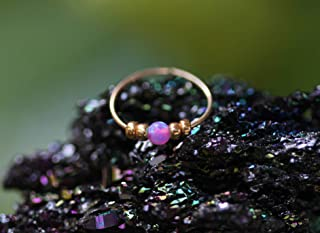 Thin 14k Gold Filled Tiny Pink Opal Nose piercing Hoop - 2 mm Pink Opal piercing Nose Hoop - 24 gauge very Thin Nose Hoop Tiny Piercings Nose Rings hoop - Opal nose rings