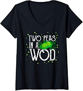 Womens Two Peas in a WOD Workout Gym Partner Fitness Vegan Running V-Neck T-Shirt