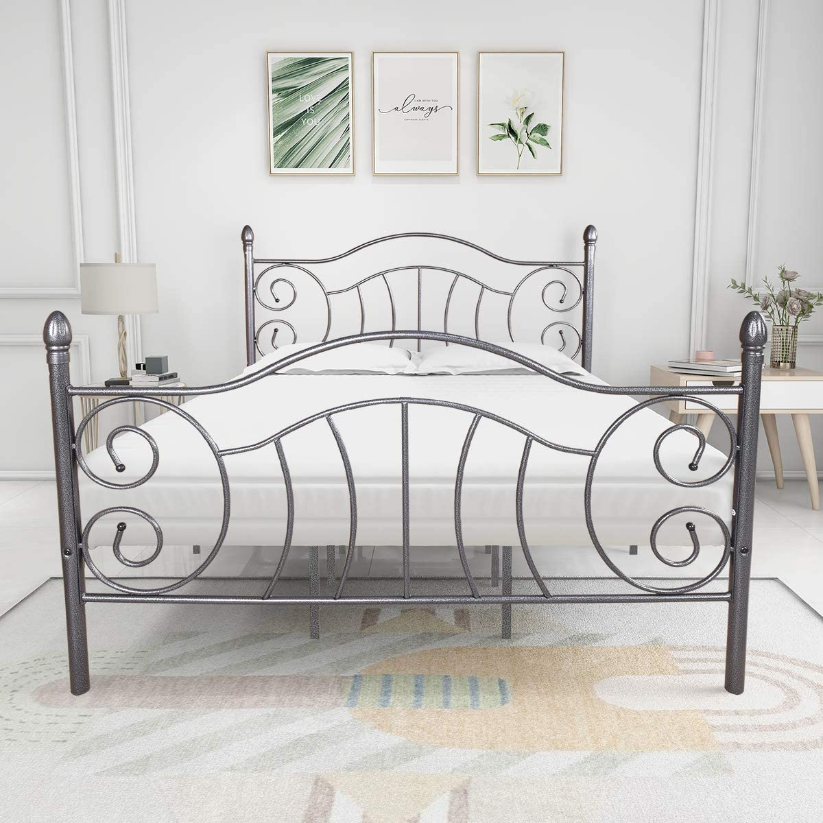 Elegant Home Products Metal Bed Frame Victorian Vintage Style Platform Foundation Headboard Footboard Heavy Duty Steel Slabs Textueenured Charcoal Finish (Gray Silver, Queen)