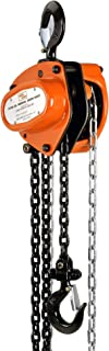 SuperHandy Manual Chain Block Hoist Come Along 1 TON 2200LBS Capacity 10FT Lift Heavy Duty Hooks Commercial Grade Steel for Lifting Pulling Construction Building Garages Warehouse Automotive Machinery