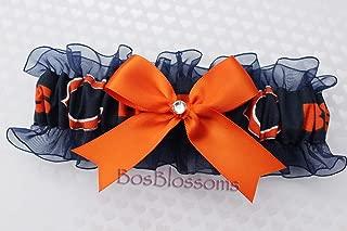 Customizable - Chicago Bears fabric handmade into bridal prom navy organza wedding keepsake garter with orange bow wks