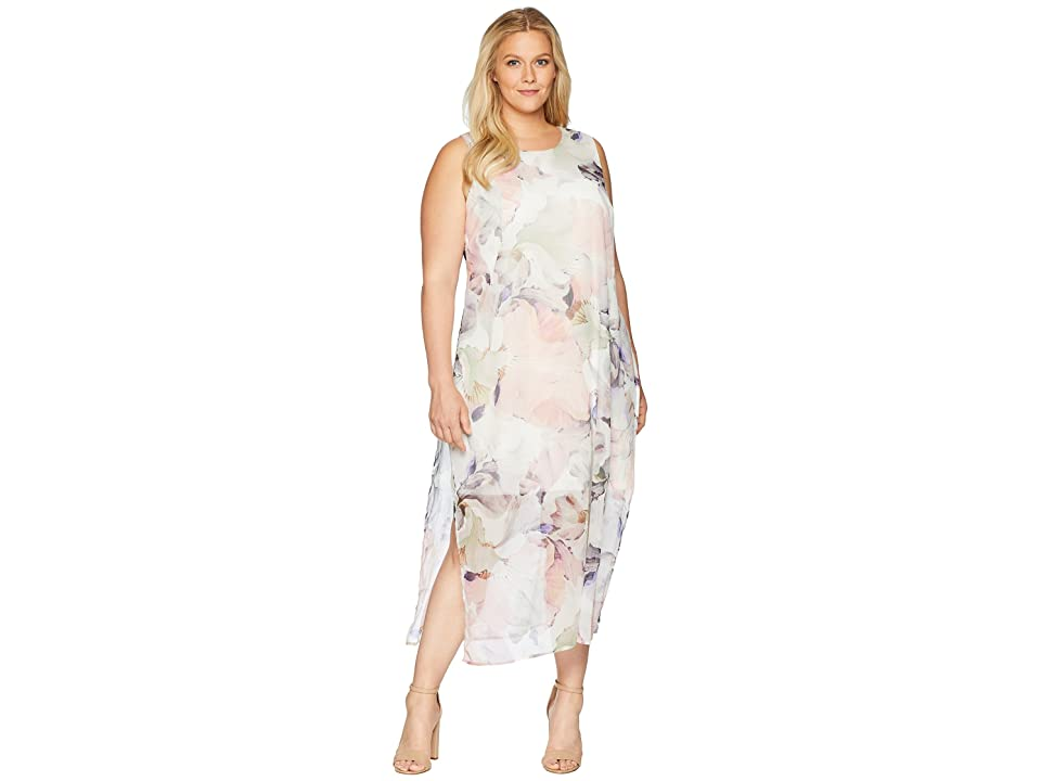Vince Camuto Specialty Size Plus Size Sleeveless Diffused Blooms Knit Underlay Dress (New Ivory) Women