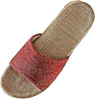 Zapatos de Playa y Piscina Mujer Verano Plataformas Chanclas Punta Abierta Lino Antideslizantes Fondo Plano Sandalias Bohe...