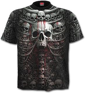 Spiral - Camiseta de manga corta para hombre, diseño de costillas y calaveras, color negro