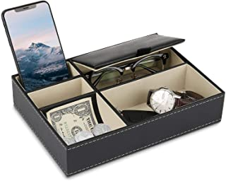 BAOYUN Valet Tray - Leather Mens Night Stand Organizer with 5 Compartment for Wallet, Phone, Sunglasses, Coins, keys, Jewelry