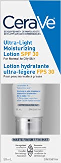 CeraVe Ultra-light Face Moisturizer with SPF 30, Daily Lightweight Face Lotion with Hyaluronic Acid, Verified Extended Use...