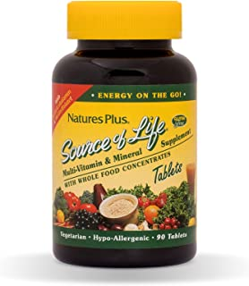 NaturesPlus Source of Life Multivitamin - 90 Vegetarian Tablets - Whole Foods Nutritional Supplement with Chelated Mineral...