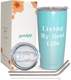GOSIPP Living My Best Life 20 oz Stainless Steel Vacuum Insulated Tumbler Cup with 2 Lids, 2 Straws, 1 Straw Cleaner- Best Birthday Gifts for Women Best Friend, Girlfriend, Mom