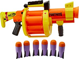 NERF - Fortnite - GL Rocket Firing Blaster - pump to fire blaster with 6 rocket drum - includes 6 official NERF - rockets - Kids Toys & Outdoor Games - Ages 8+