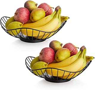 DOWAN Fruit Basket Bowl Set of 2, Large Wired Fruit Vegetable Basket Bowls for Kitchen Counter, Party, Serving and Bread S...