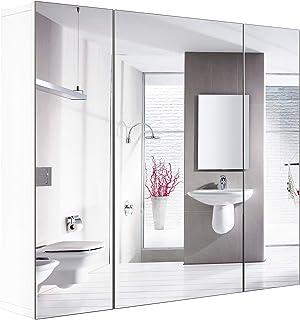 Homfa Armario Baño con Espejo Armario de Pared con 3 Puertas 4 Compartimentos 70x60x15cm
