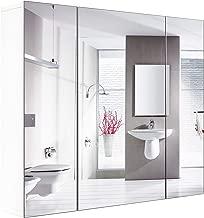 Homfa Armario Baño con Espejo Armario de Pared con 3 Puertas 4 Compartimentos 70x60x30cm