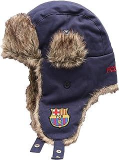 FC Barcelona Football Soccer Mens Winter Ski Trapper Hat M/L- Navy
