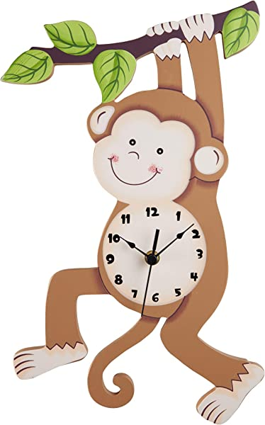 Fantasy Fields Sunny Safari Kids Wall Clock Silent With Decorative Water Based Paints For Kids And Nursery Brown Monkey 16 Height