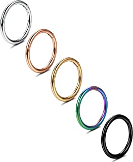 Jstyle 5-8 Pcs a Set 316L Stainless Steel Septum Piercing Nose Hoop Clicker Ring Hypoallergenic 16G