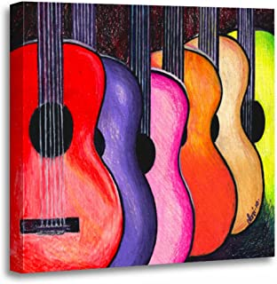 TORASS Canvas Wall Art Print Music Multicolored Guitars by Acoustic Rock Pop Folk Artwork for Home Decor 20