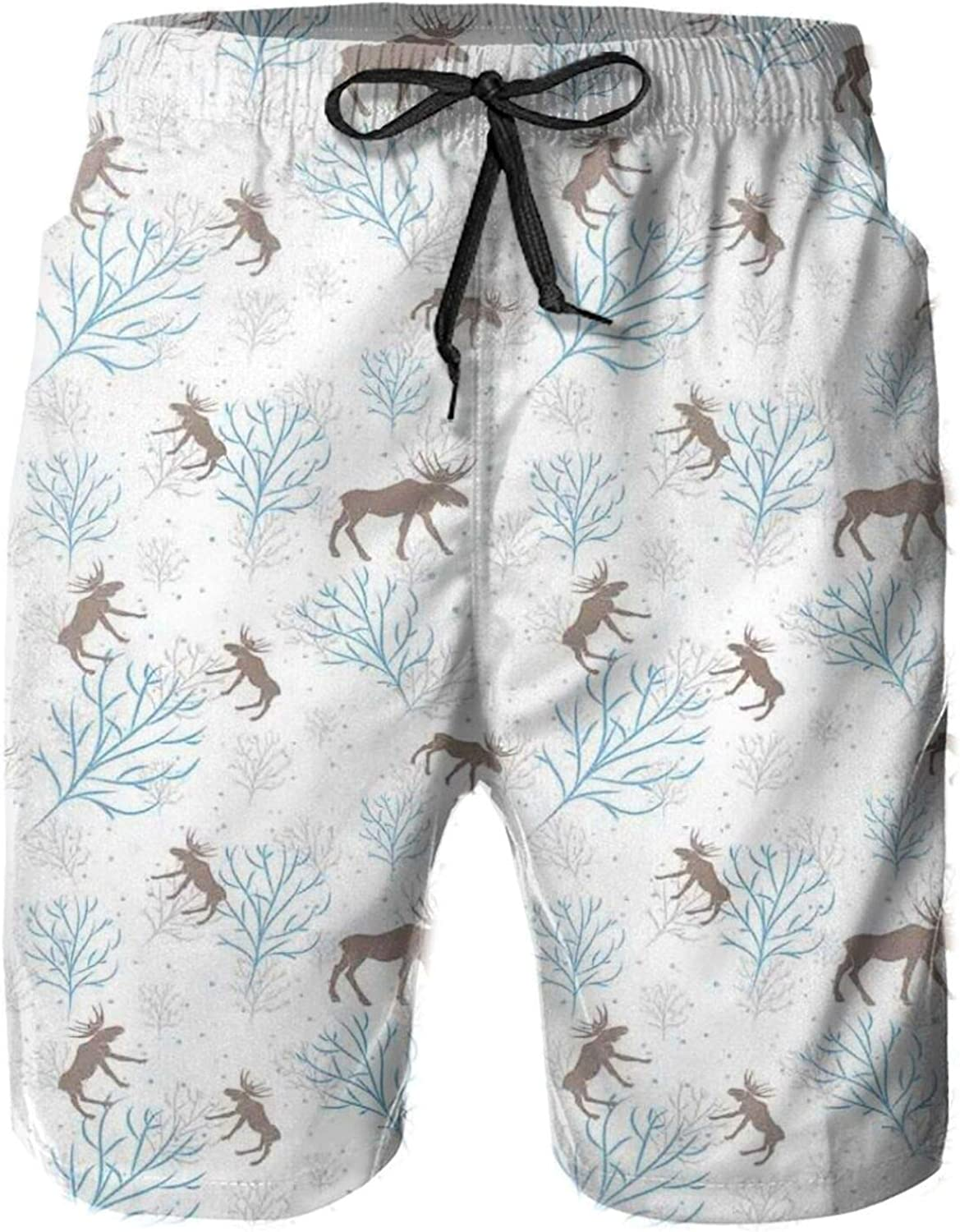 Winter Forest Retro Illustration with Reindeer and Trees Snowy Xmas Nature Mens Swim Trucks Shorts with Mesh Lining,M