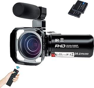 ビデオカメラ Rosdeca デジタルビデオカメラ HD 1080P WIFI機能搭載 2600万画素 IR赤外線暗視機能 超広角レンズ同梱 16倍ズームあり リモコン付き 遠隔操作可 手ぶれ軽減 270度回転3.0インチ画面 外付けマイク 二...
