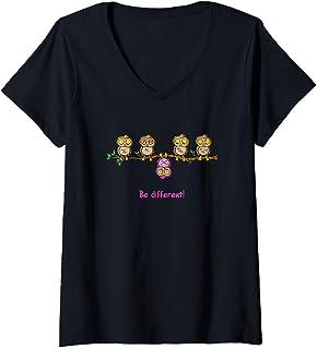Damen Be different - Süßes Eulen Fun Vogel Eule Spruch Geschenk T-Shirt mit V-Ausschnitt