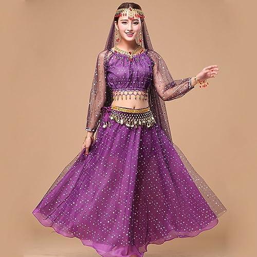 ZTXY Professionnel Lady Belly Dance Costumes Jeux Indiennes Robe de Danse Perforhommece Robe Net en Tissu Faits saillants Violet 5 pièces Ensemble