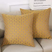 Madizz Pack of 2 Mid Century Modern Woven Linen Decorative Square Throw Pillow Covers Pack Cushion Cases 18x18 inch Plaid Checker Gingham Plaid Mustard Yellow and Tan