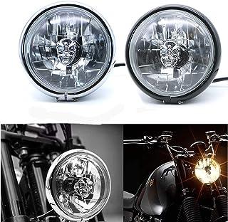 Motorrad Frontscheinwerfer Universal Metall Abblendlicht LED Lampe f/ür Honda Shadow 1100 ACE1100 750 Yamaha Suzuki Kawasaki chrom