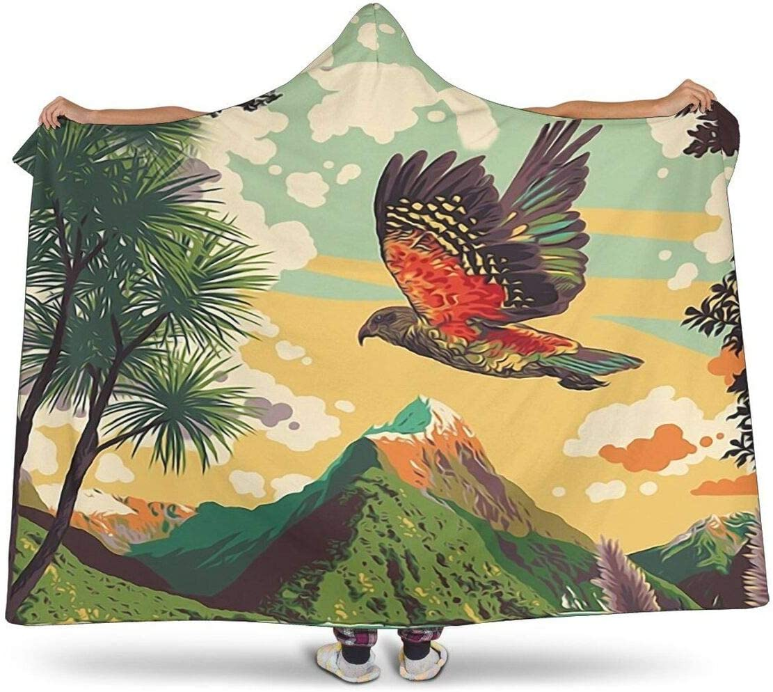 Personalized New Max 66% OFF Zealand Mount Cook Kea Indo Hooded Bird Max 70% OFF Blanket