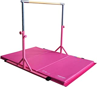 Z ATHLETIC Expandable Kip Bar Adjustable Height for Gymnastics, Training & 4ft x 8ft x 2in Mat (Purple & Blue)
