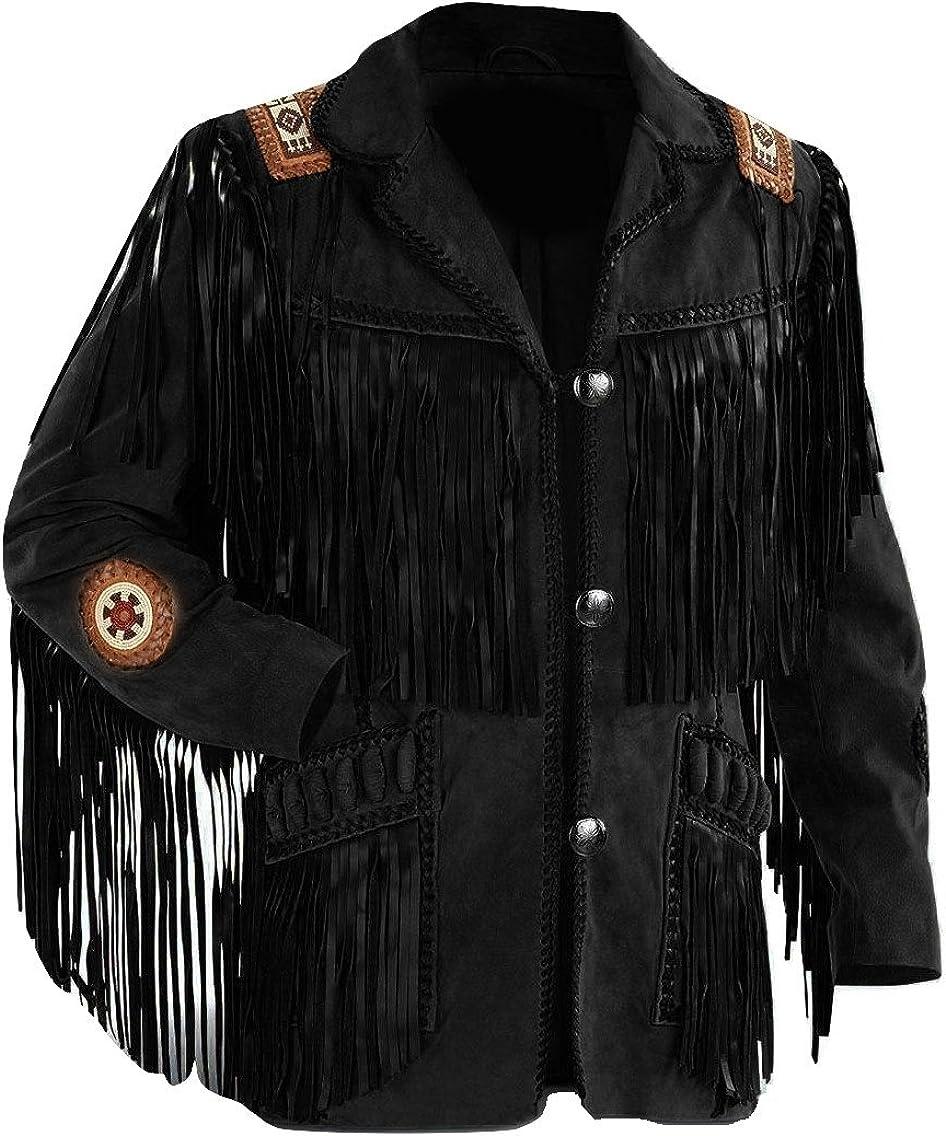 LEATHERAY Men's Fashion Western Fringe & Beaded Jacket Suede Leather